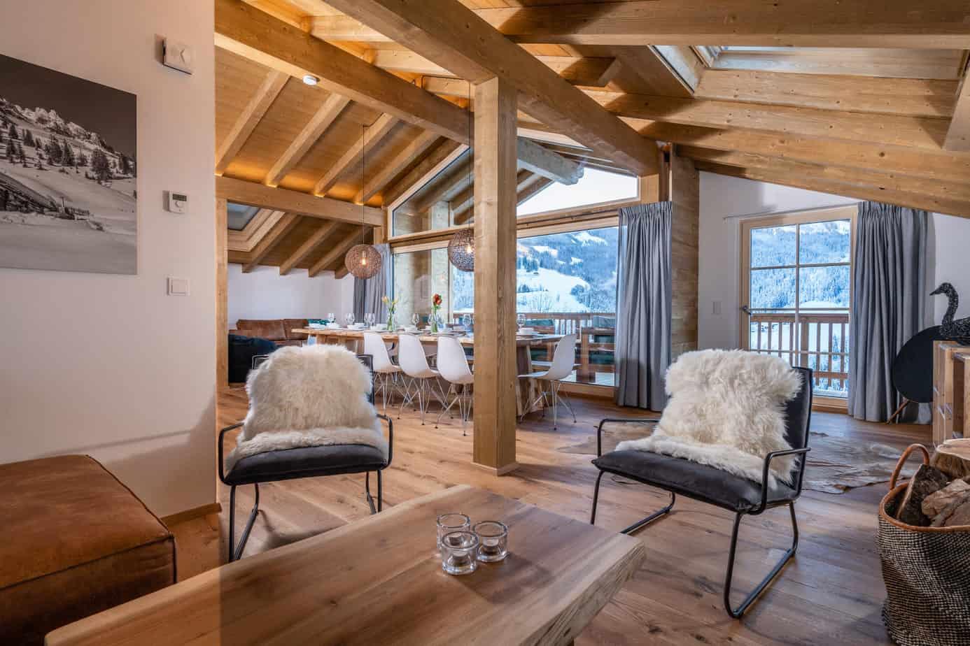 Woonkamer luxe lodge in Mühlbach am Hochkönig