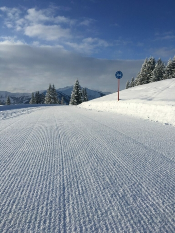 Vers geprepareerde pistes Saalbach tijdens Alpex Skitocht