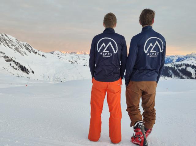 Gidsen Jaap en Frits tijdens Alpex Skitochten